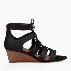 Ugg Suede Lace-up Wedge Sandals